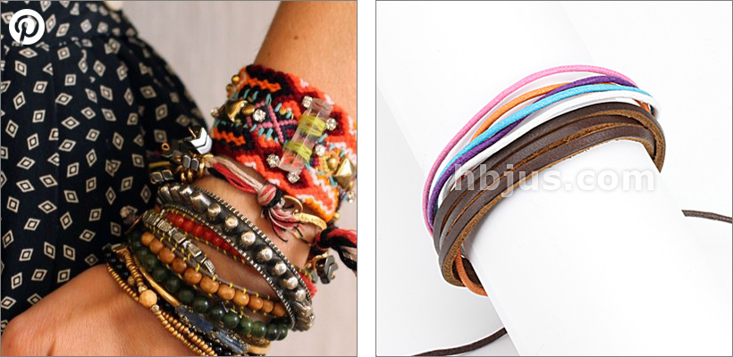 Brown Leather and Multi Colored Strands Bracelet with Drawstrings