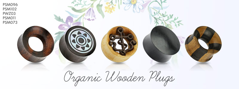 Organic Wood Plugs by Hollywood Body Jewelry