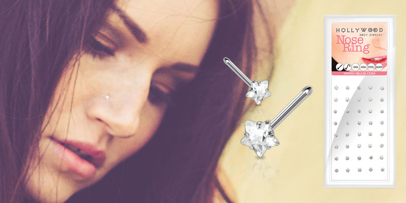 316L Surgical Steel 3mm Clear Prong Star CZ Nose Bone Package