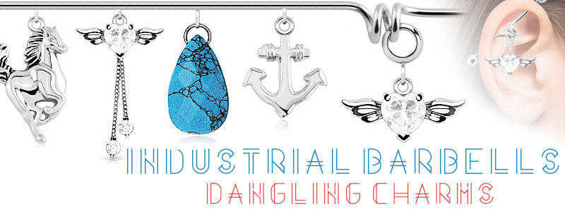 industrial barbells with dangling charm