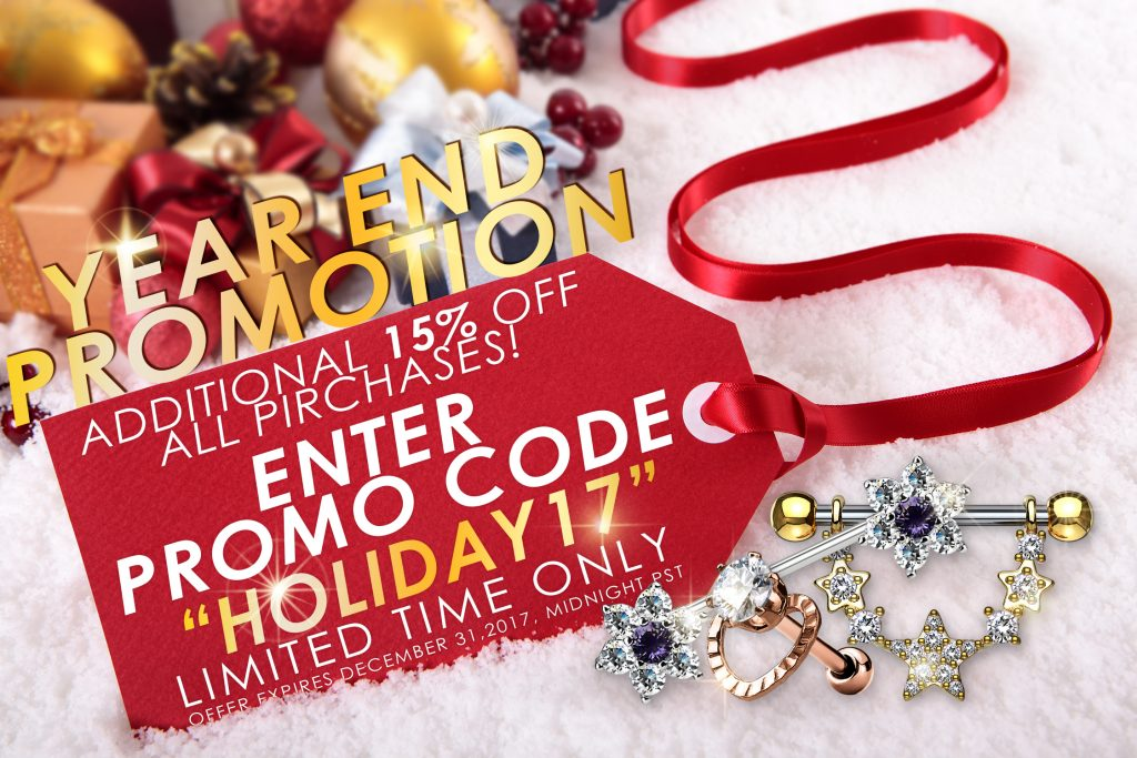 "PROMO CODE ""HOLIDAY17"""