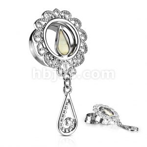 Mother of Pearl Inlaid Tear Drop Center and Filigree Around with Dangle 316L Surgical Steel Screw Fit Double Flared Tunnels