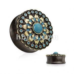 Turquoise and Enamel Tribal Sun Top Organic Ebony Wood Double Flared Saddle Plugs