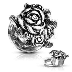 Rose Blossoms Top 316L Surgical Steel Screw Fit Flesh Tunnels